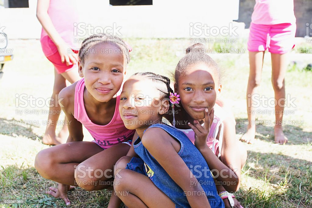 Children of Paarl in South Africa stock photo