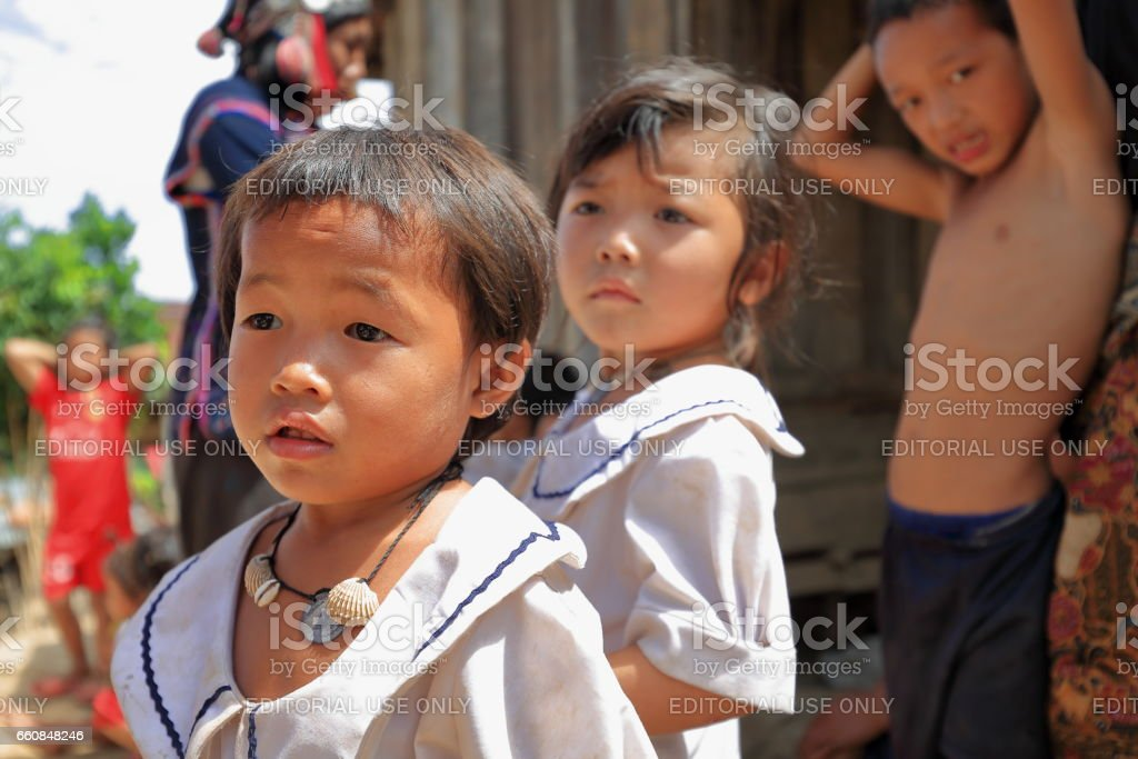 Children of the Akha Ya-Er hill tribe. BanHouayPhod-Phongsali province-Laos. 3723 stock photo