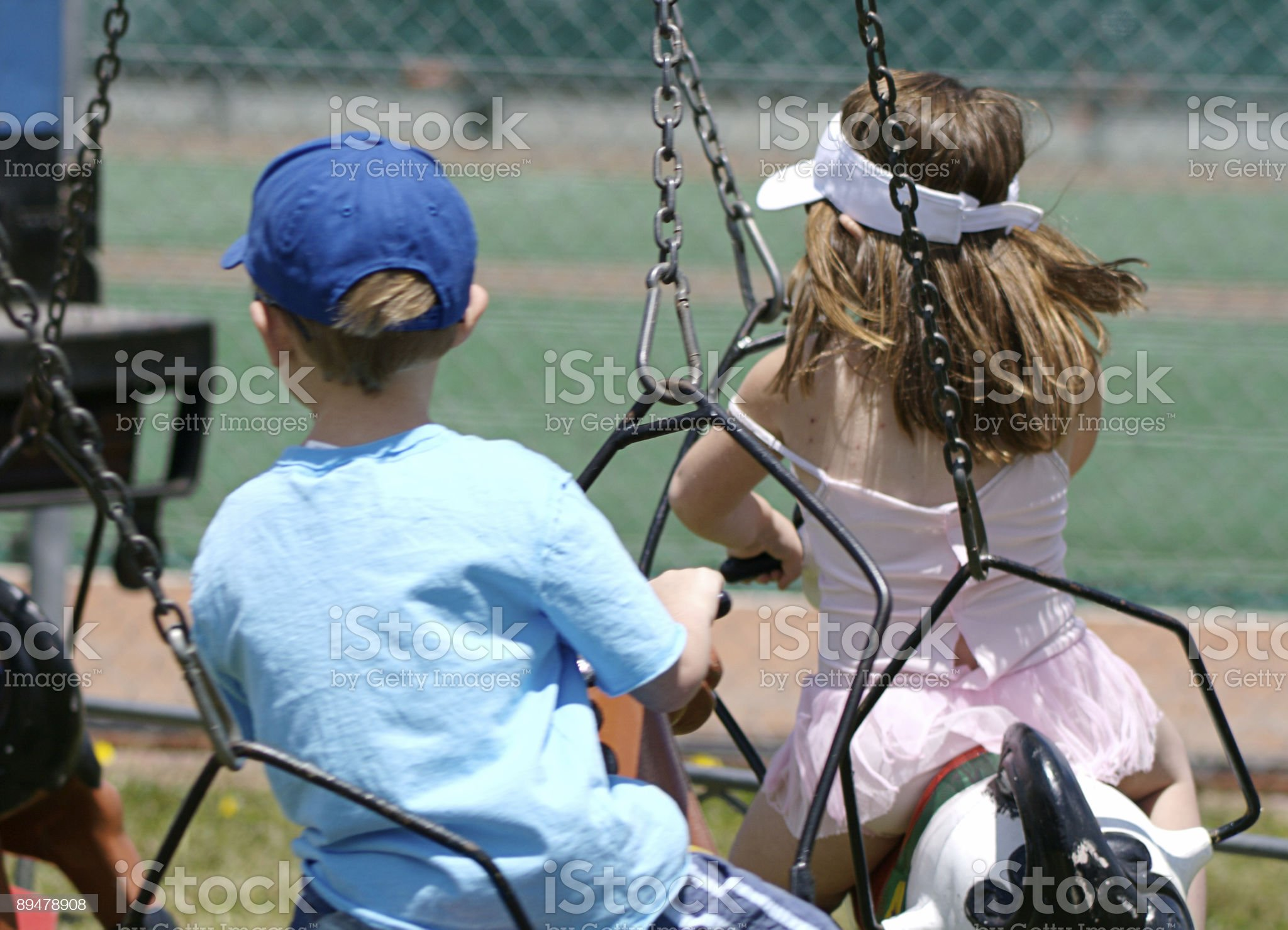 Children on a carousel royalty-free stock photo