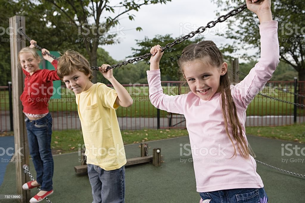 Children on a chain royalty-free stock photo