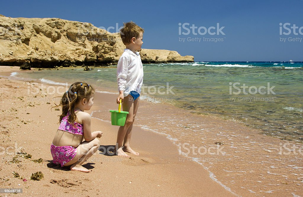 Children on beach royalty-free stock photo