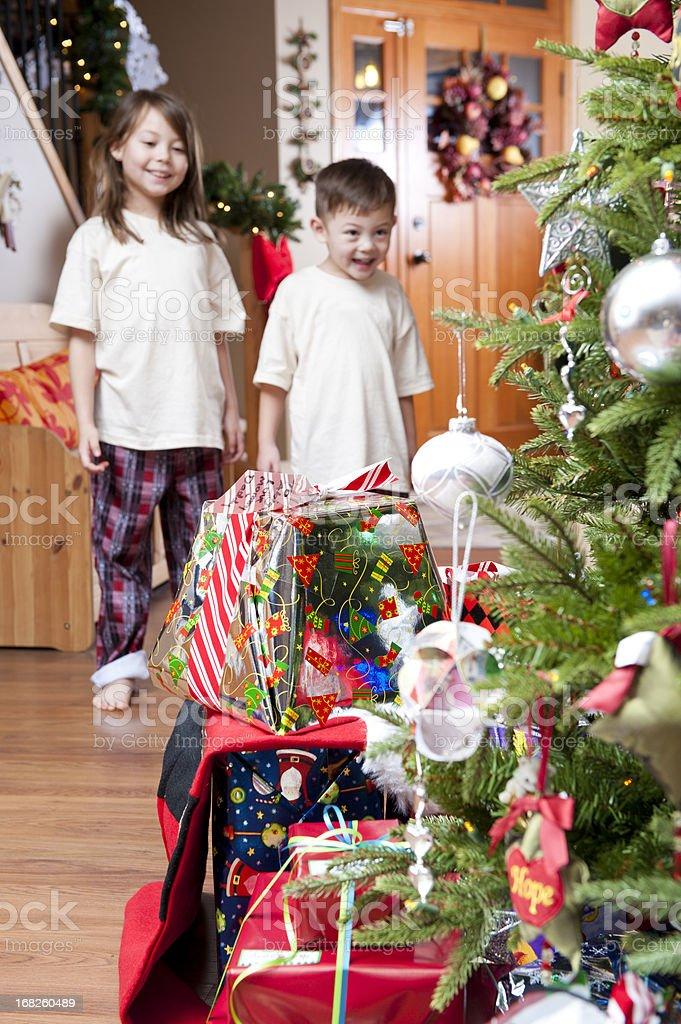 Children on Christmas Morning stock photo