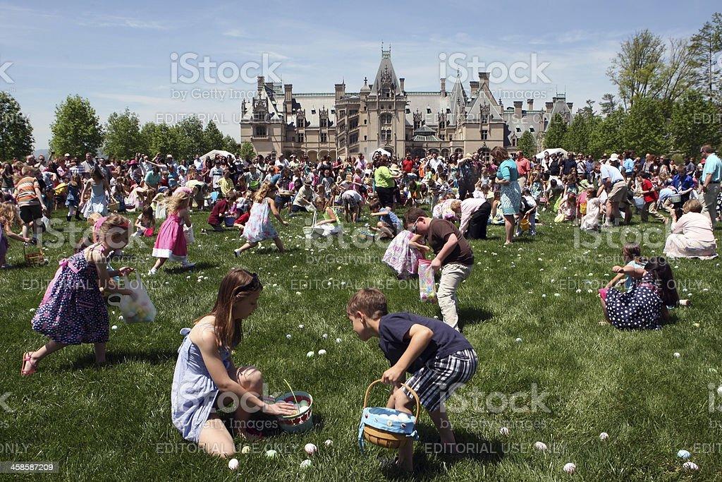 Children  on Easter Egg Hunt at Biltmore Estate, USA stock photo