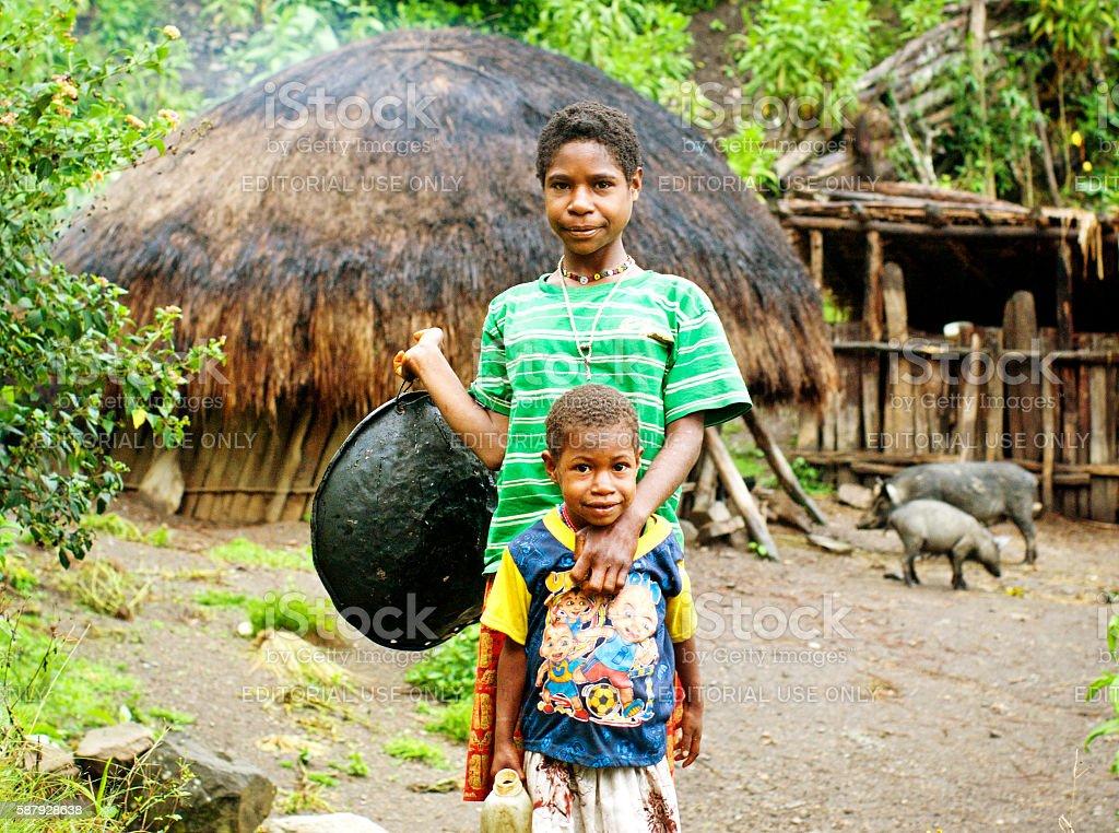 children on New Guinea Island, Indonesia . stock photo