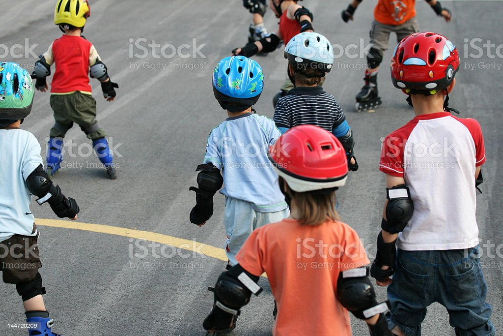 Children on rolers royalty-free stock photo