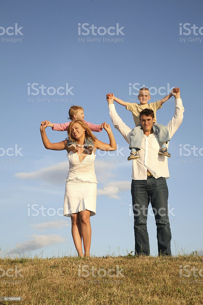 children on shoulders royalty-free stock photo