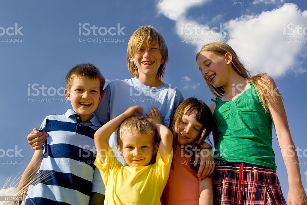 Children on sky royalty-free stock photo
