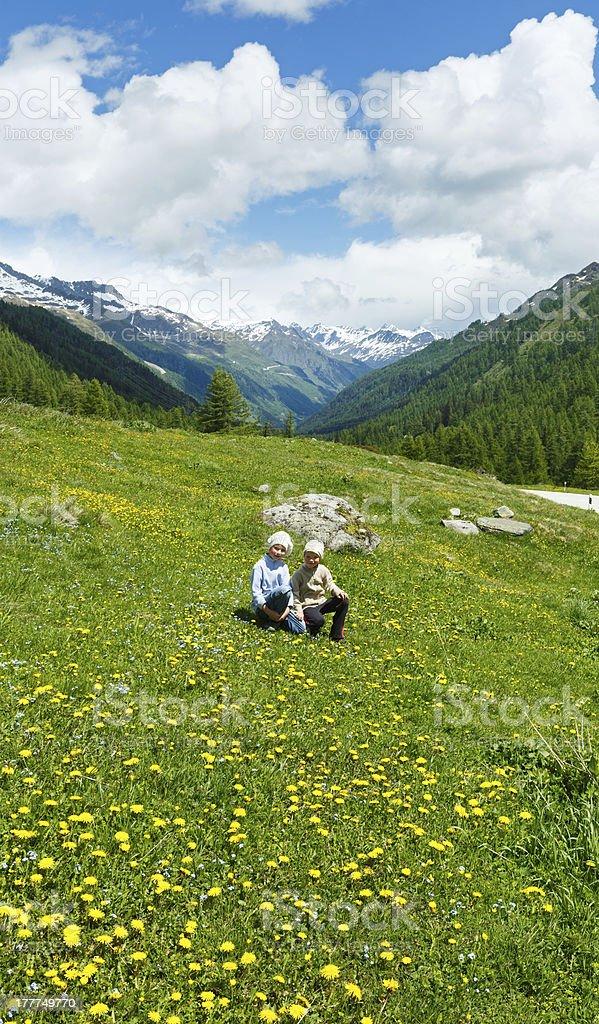 Children on summer mountain meadow (Alps, Switzerland) stock photo