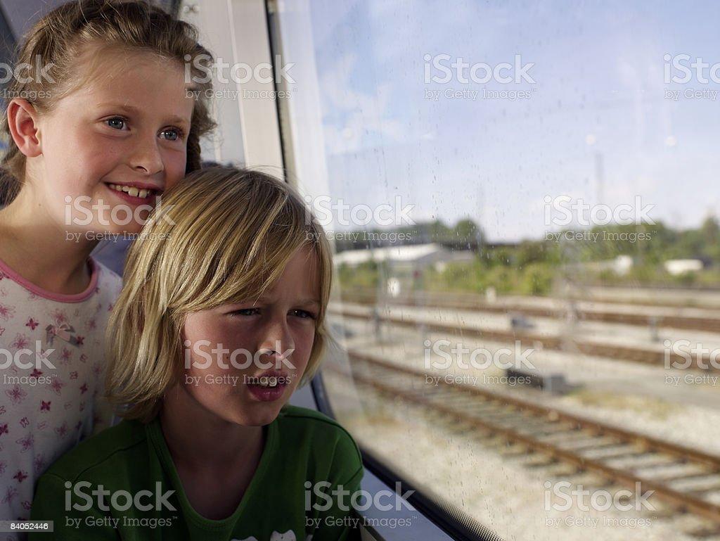 Children on train stock photo