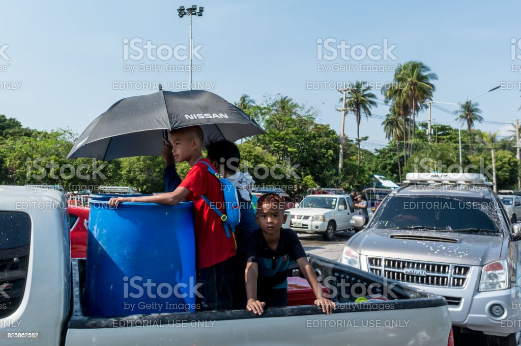 Children on truck for play water in water festival day (Song Kran day) stock photo