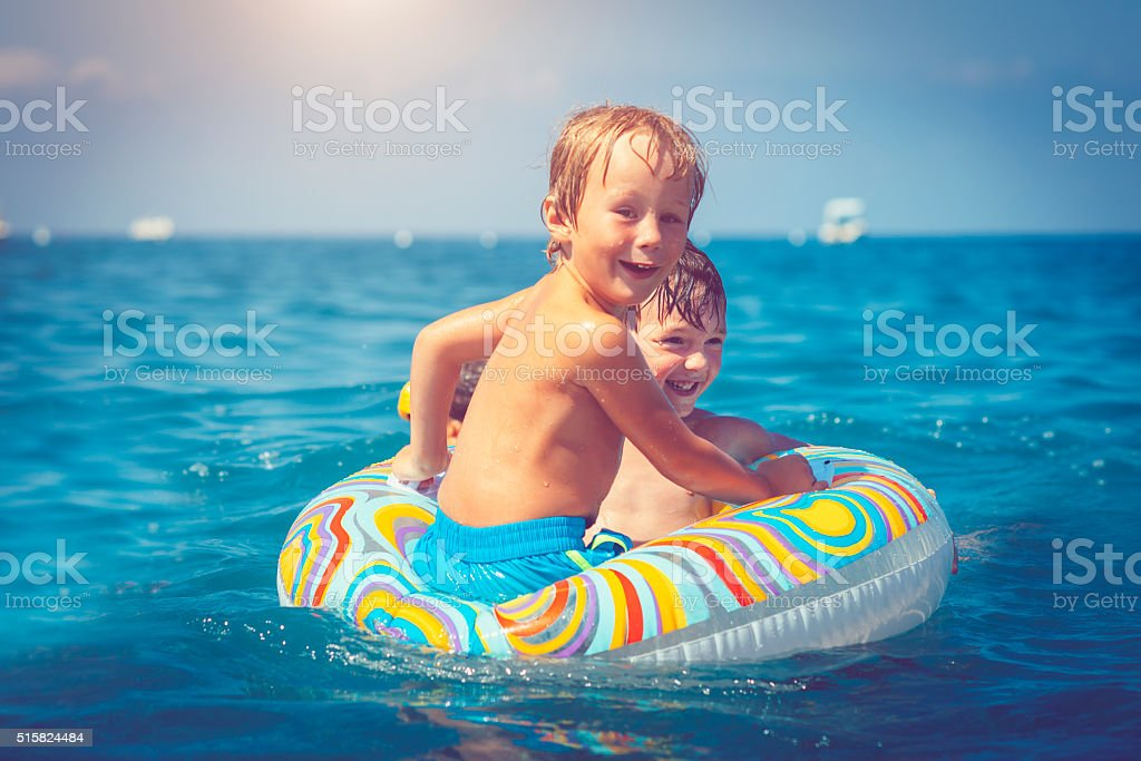 Children on vacations stock photo