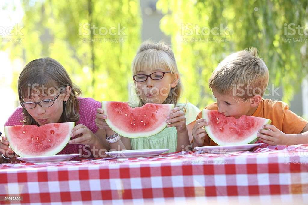 Children outdoors eating watermelon royalty-free stock photo