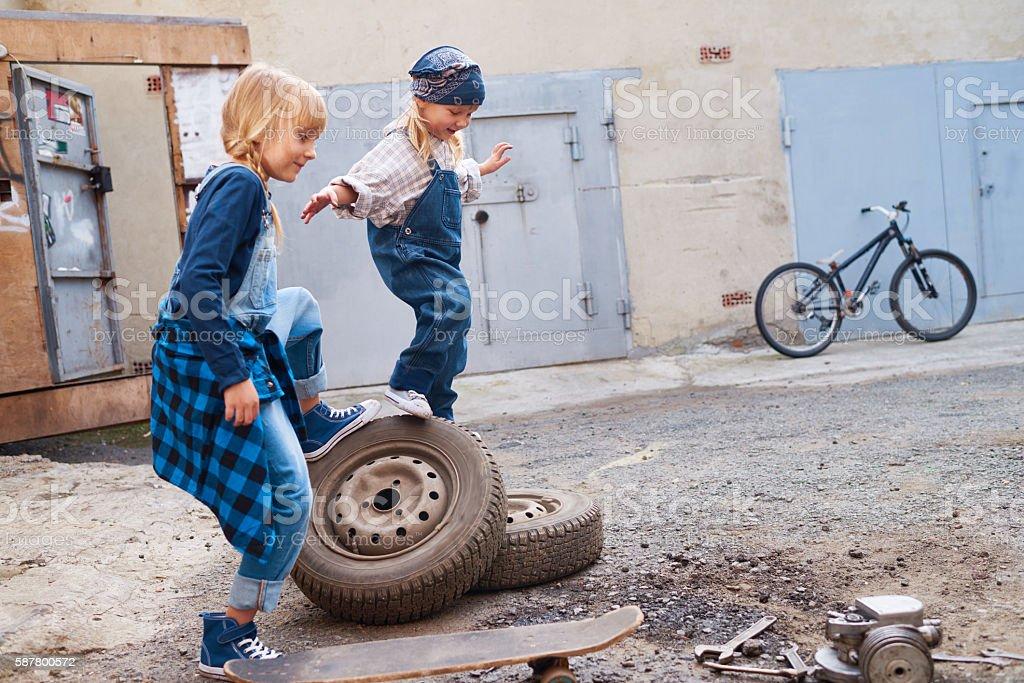 Children outdoors stock photo