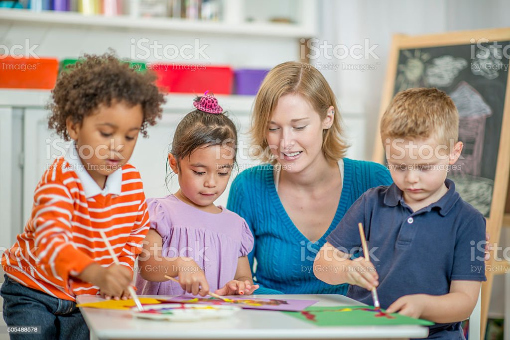 Children Painting Pictures stock photo