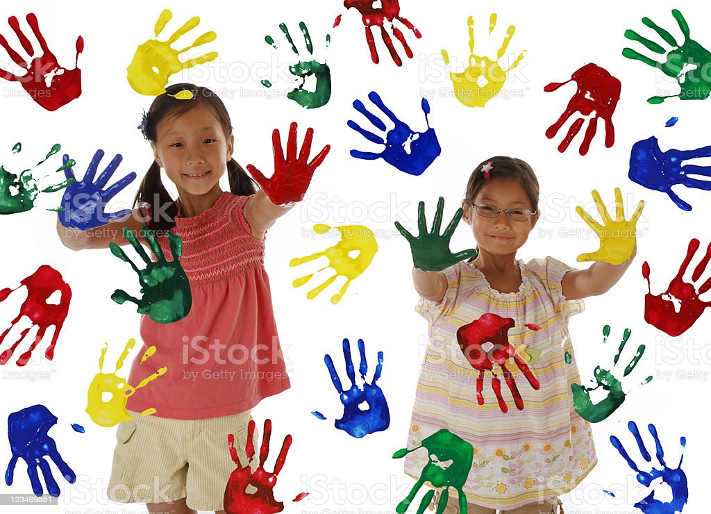 Children Painting with Hands royalty-free stock photo