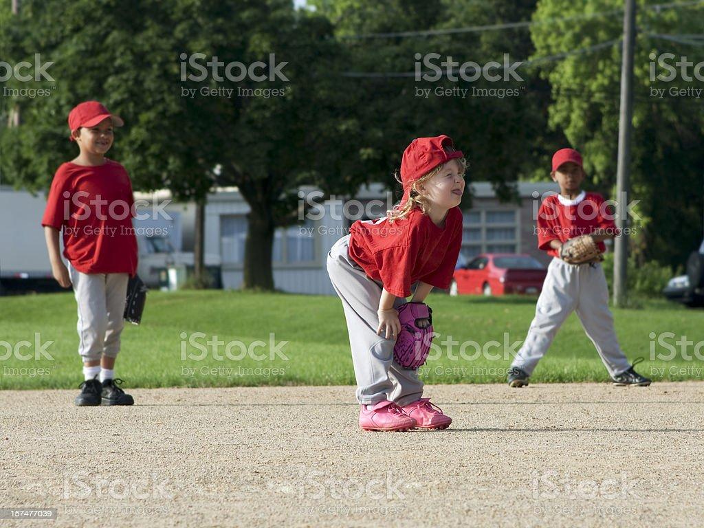 Children Play Baseball - Girl and Boys stock photo