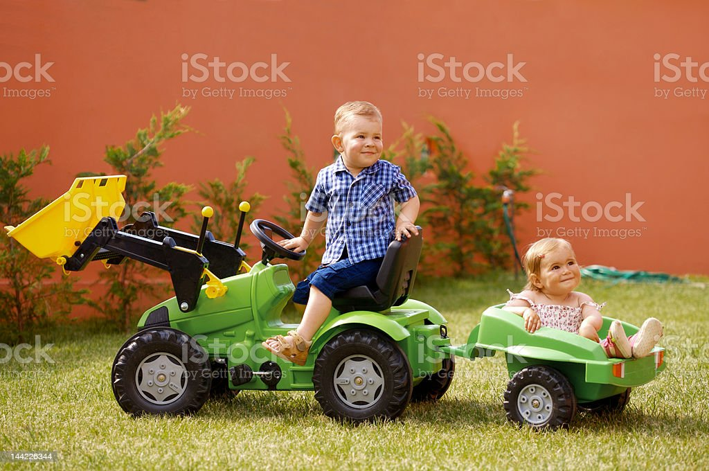 Children play in the garden royalty-free stock photo