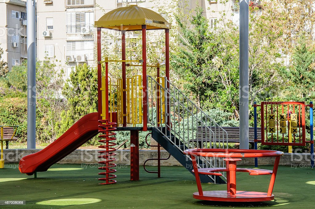 Children playground covered with a canopy stock photo