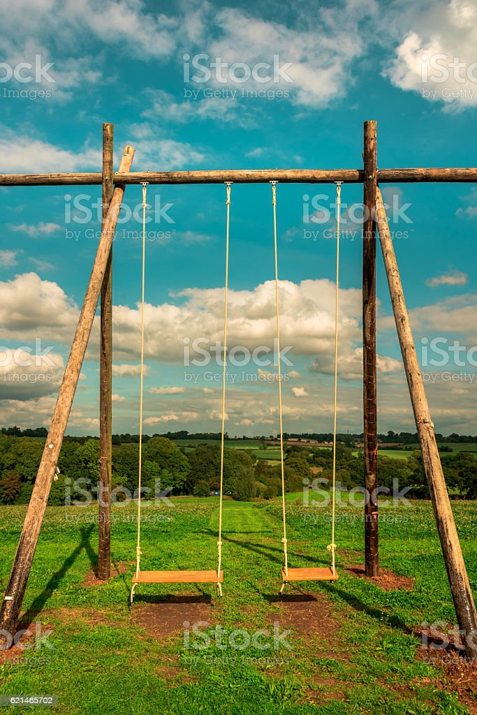 Children Playground - Swings - What a wonderful world stock photo