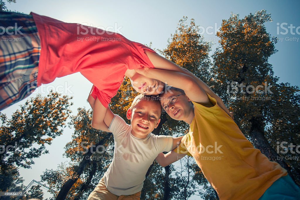 Children playing a game stock photo