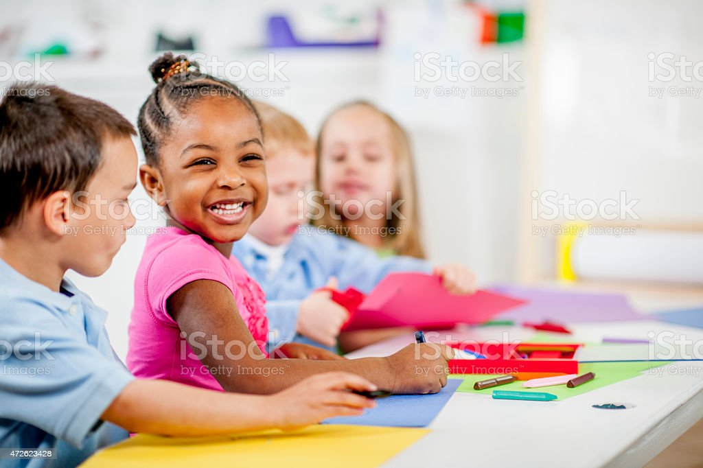 Children Playing at Daycare stock photo