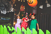 Children playing for Halloween