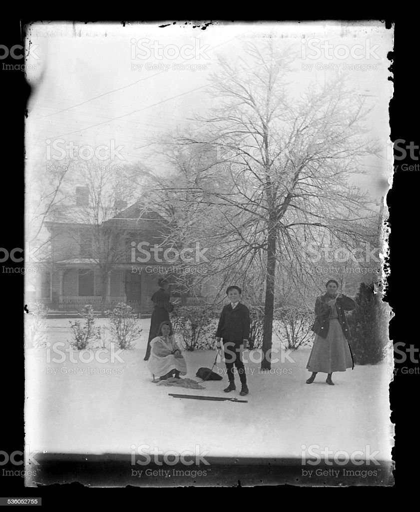 Children Playing in the Snow, Circa 1890 stock photo