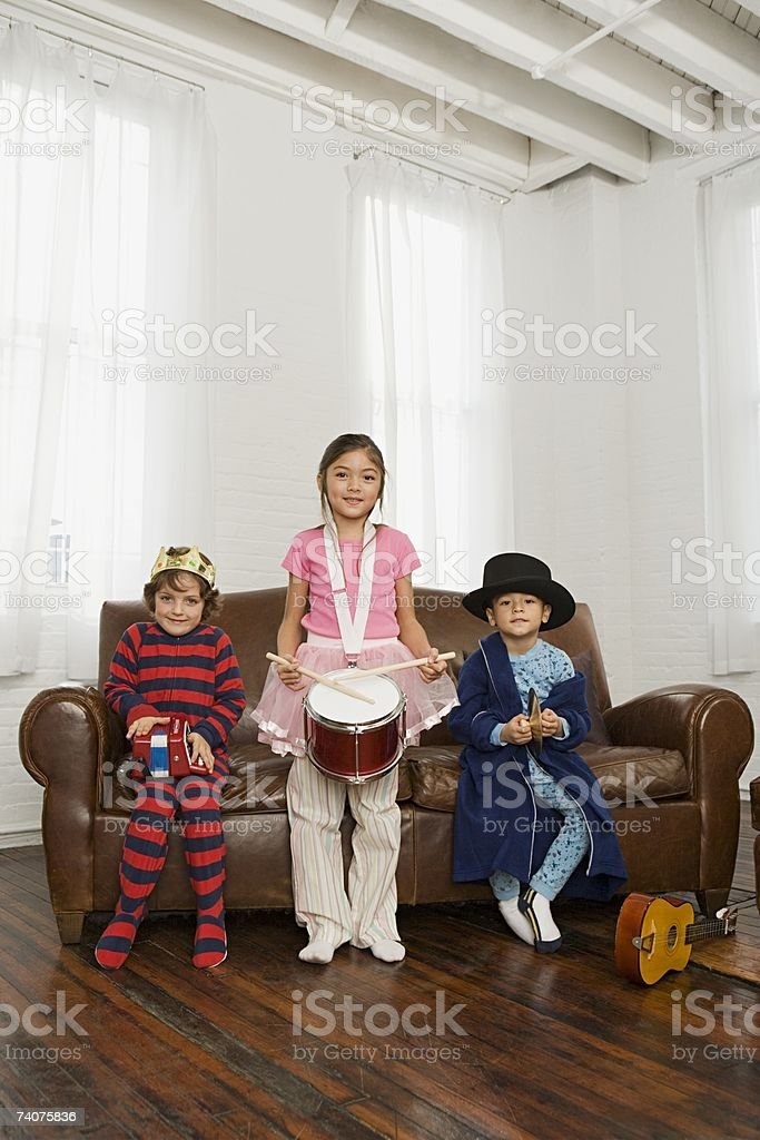 Children playing musical instruments royalty-free stock photo