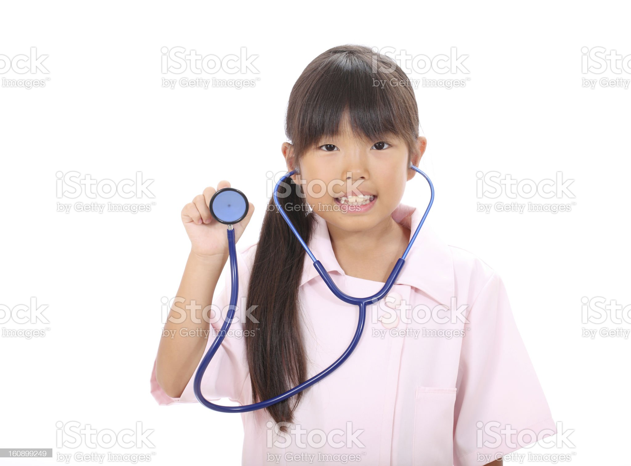 Children playing nurse,  showing stethoscope royalty-free stock photo