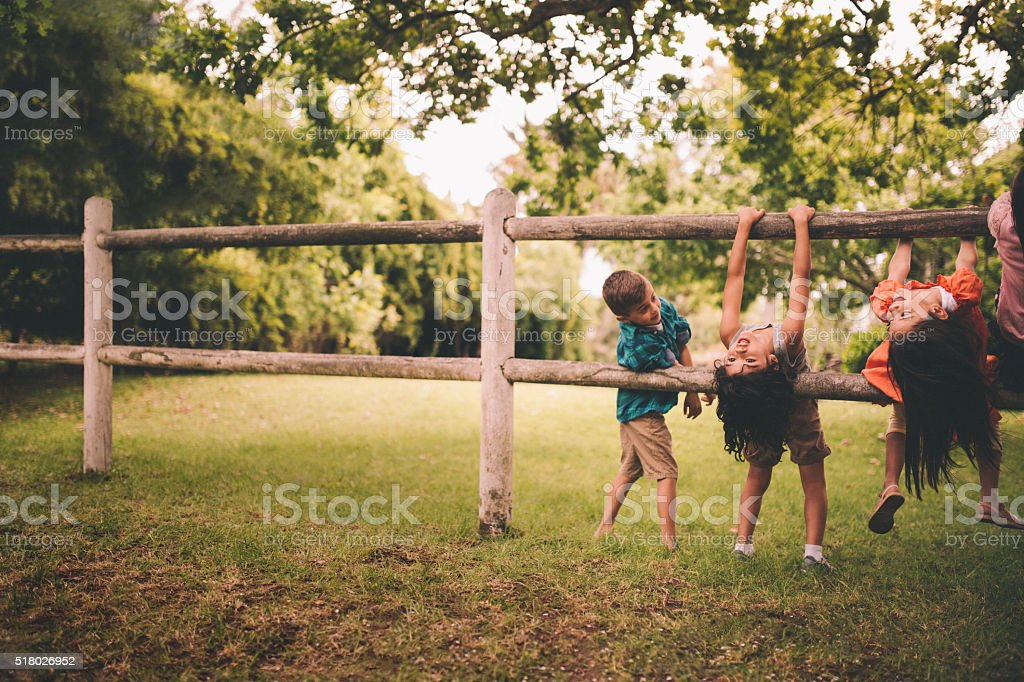 Children playing on a wooden fence in a summer park stock photo