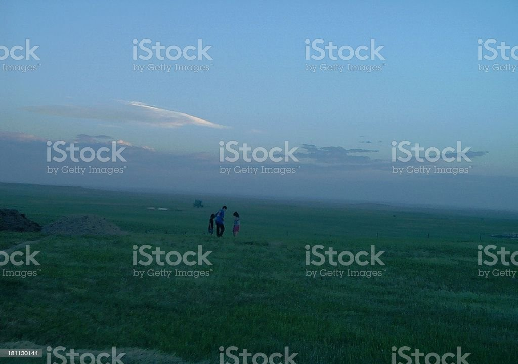 Children Playing on the Prairie royalty-free stock photo