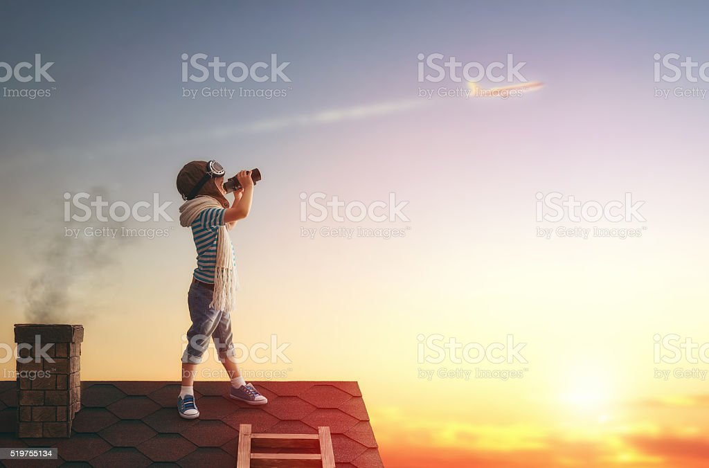 children playing on the roof stock photo
