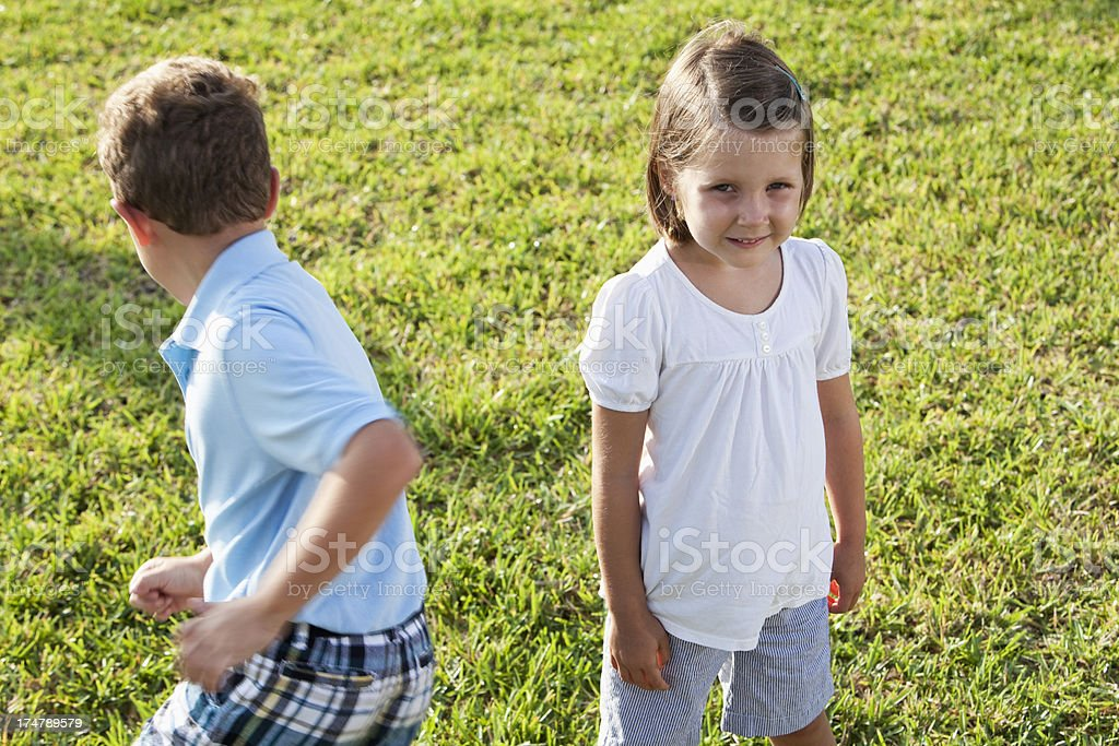 Children playing outdoors royalty-free stock photo