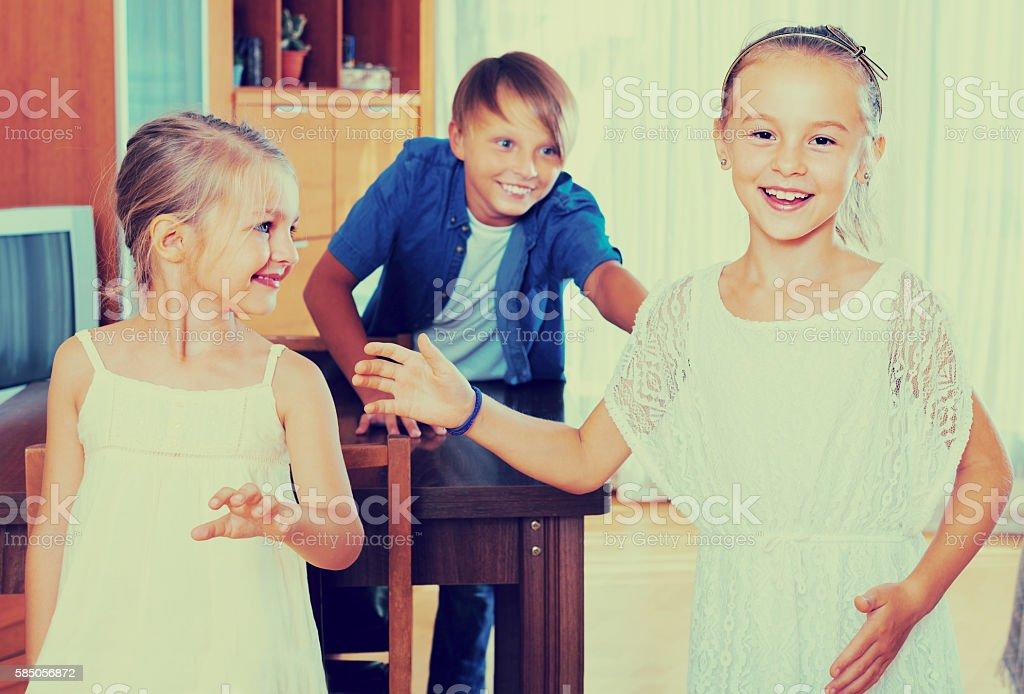children playing romp game stock photo