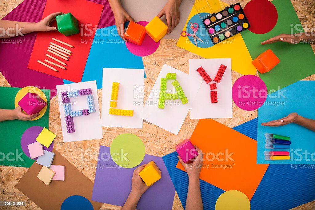 Children playing together stock photo