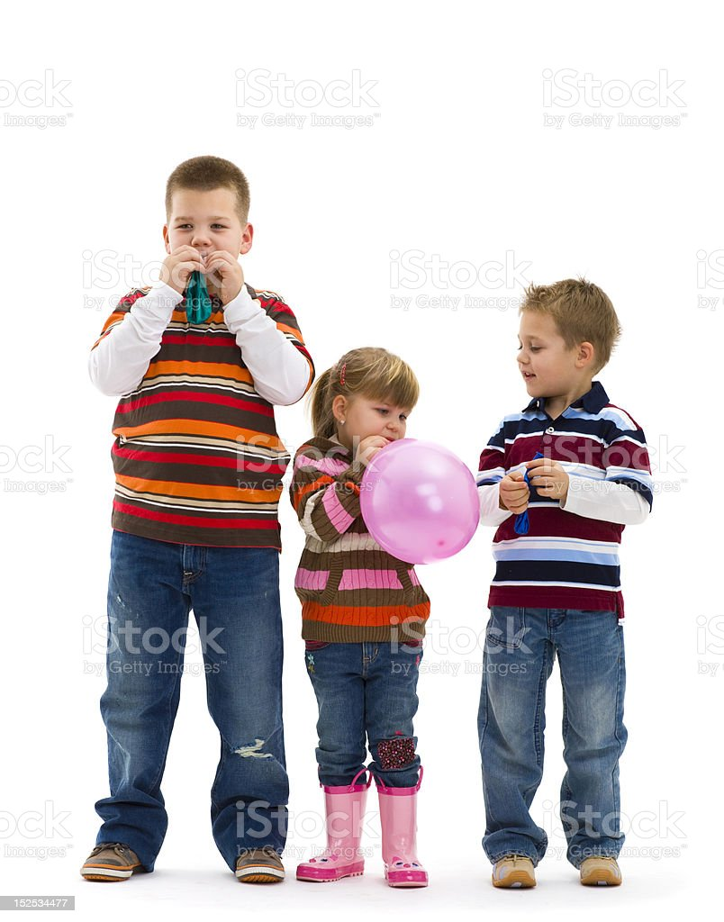 Children playing with toy balloon royalty-free stock photo