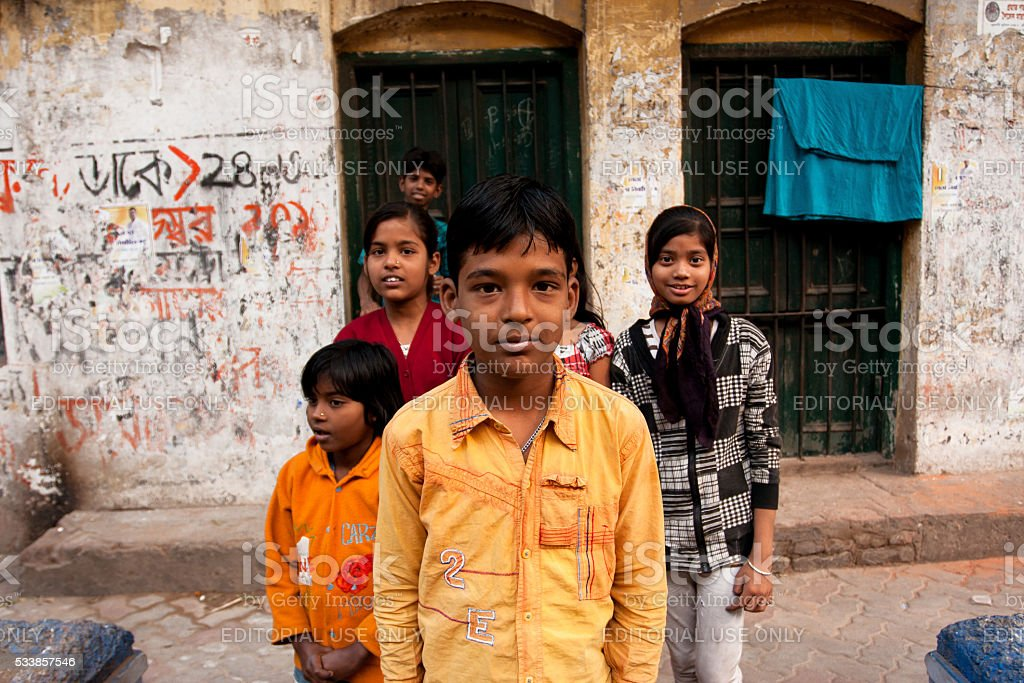 Children pose outdoor after school classes stock photo