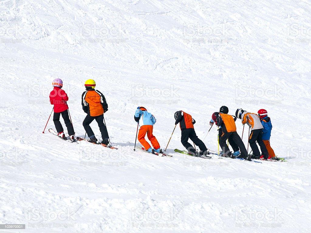 Children practicing ski stock photo
