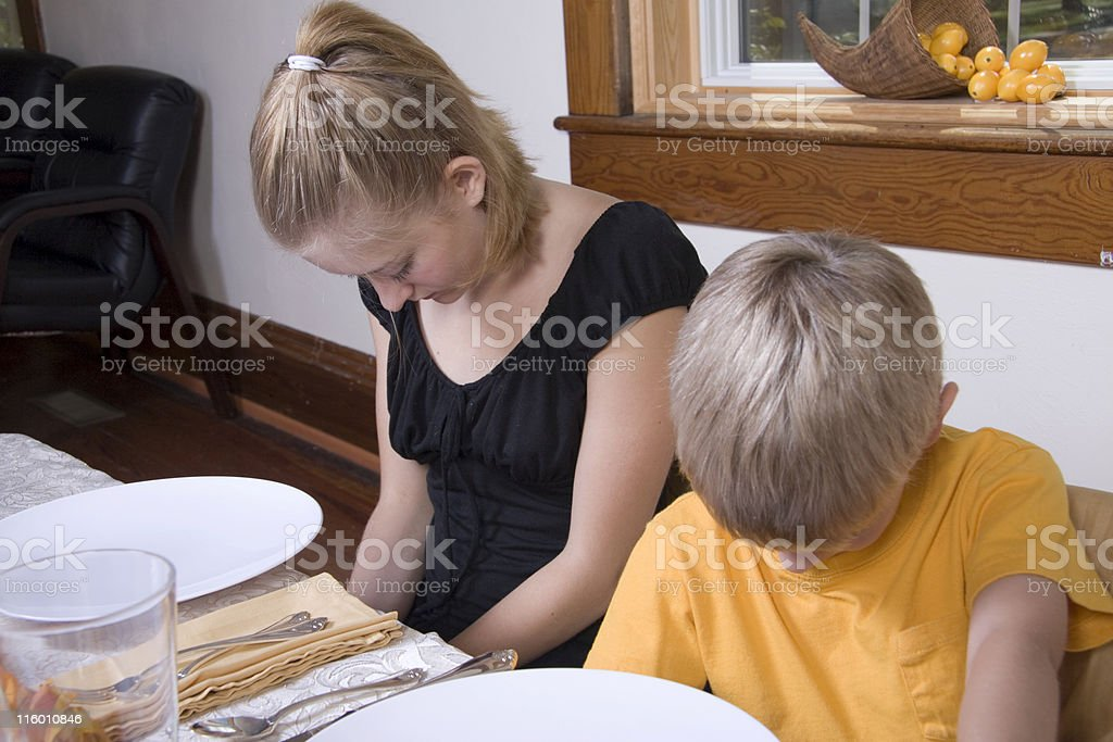 Children Pray Before They Eat royalty-free stock photo