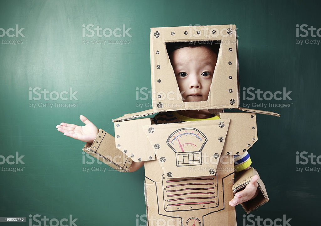 children pretend robot stock photo