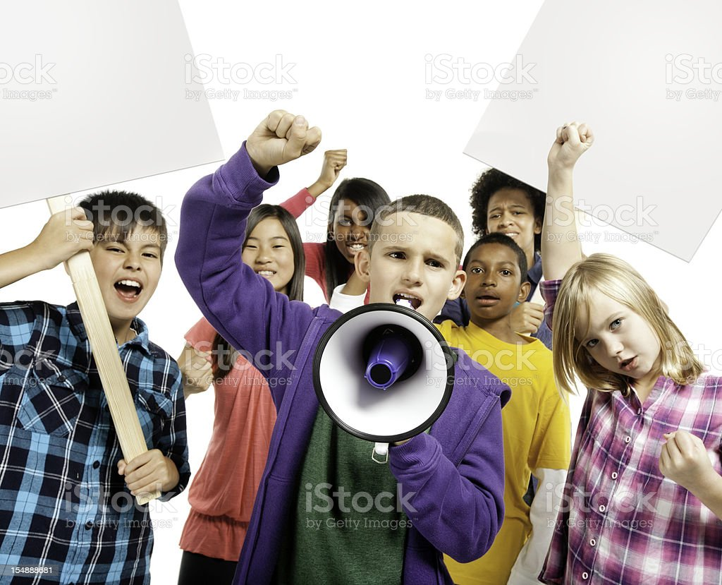 Children Protesting - Isolated stock photo
