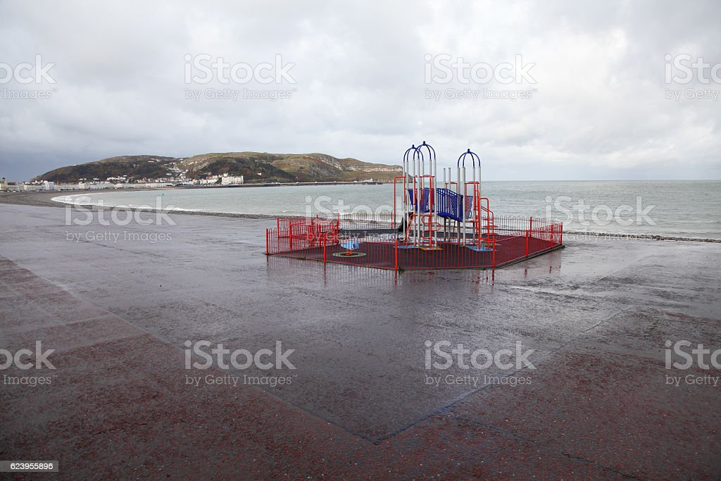 children public playground by the sea stock photo