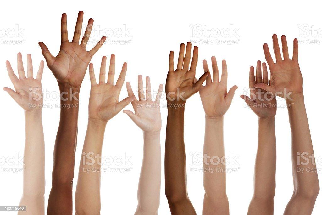Children Raising Hands stock photo
