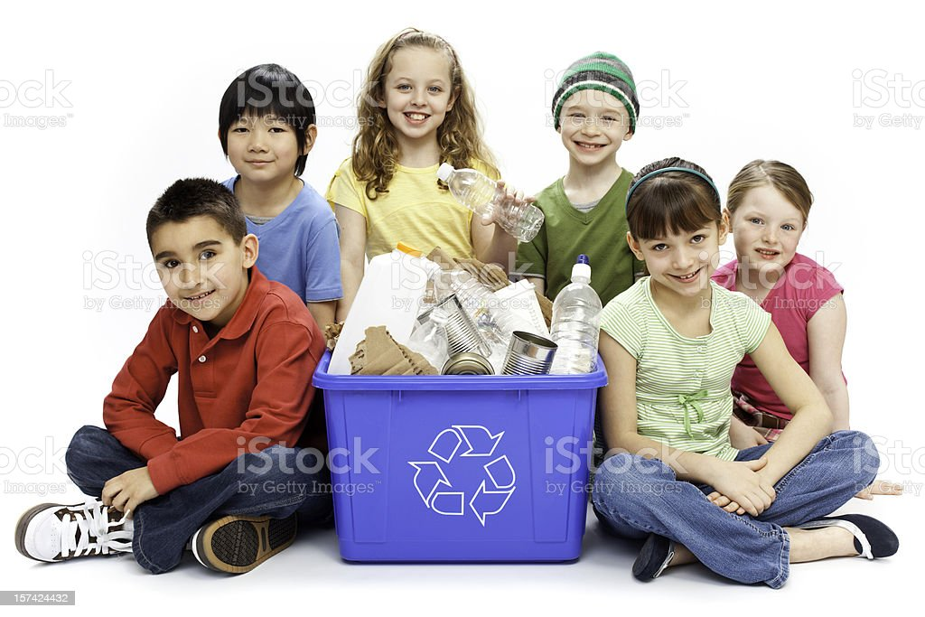 Children Recycling Isolated royalty-free stock photo