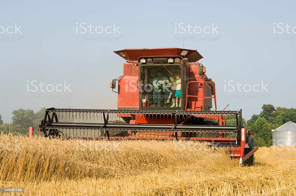Children riding in a combine royalty-free stock photo