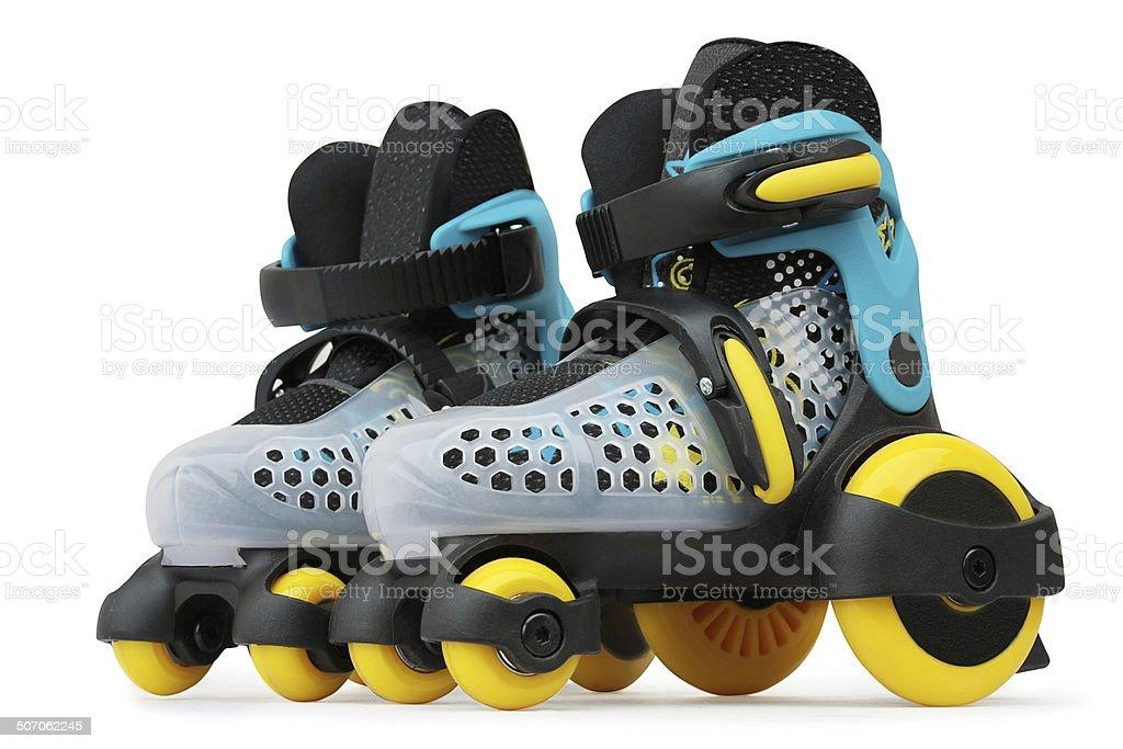 Children roller skates stock photo