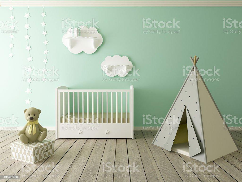 children room, baby room, nursery interior stock photo
