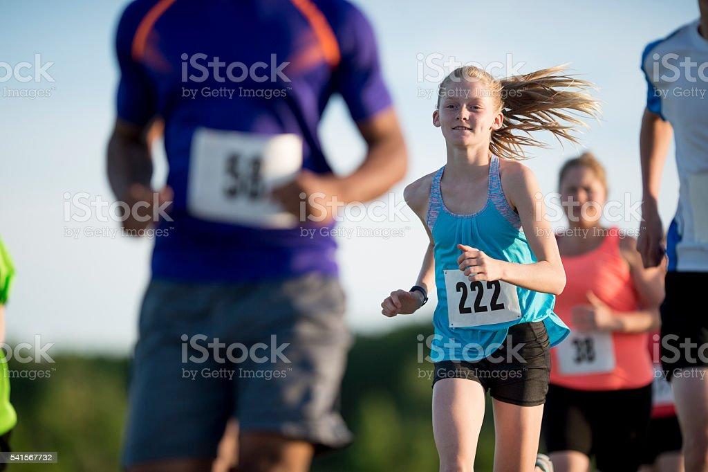 Children Running a 5K stock photo