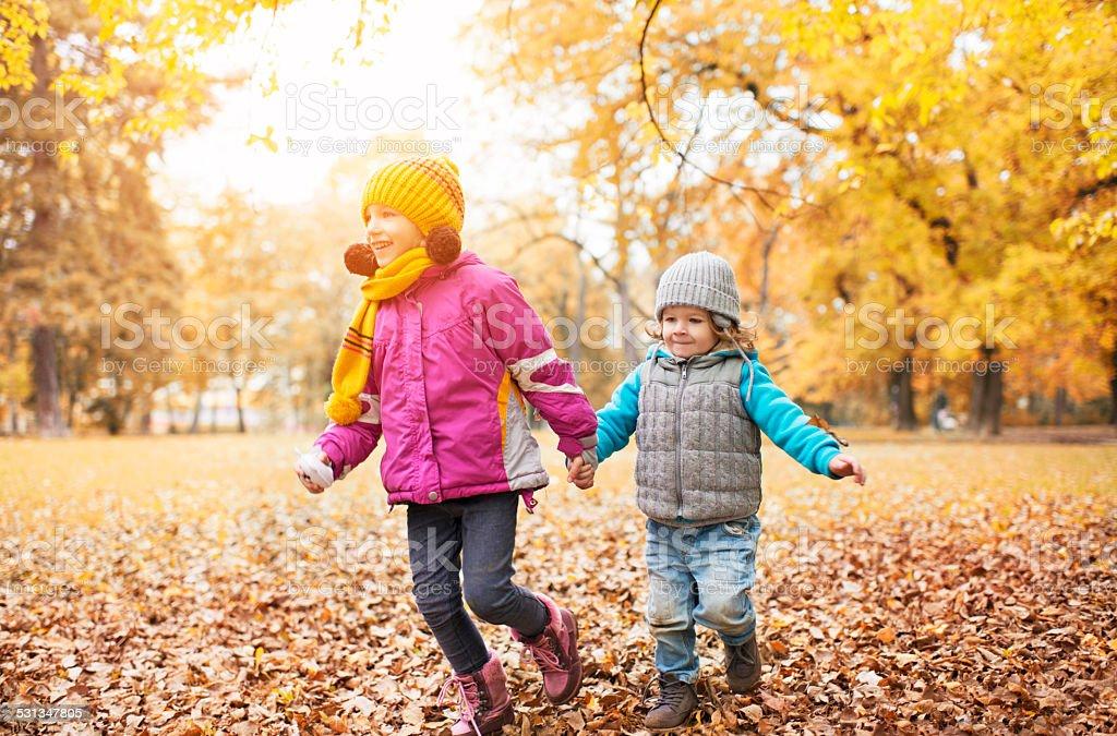 Children running in the park in autumn. stock photo