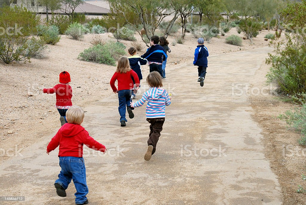 Children Running royalty-free stock photo
